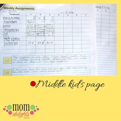 Assignment sheets middle kids sample