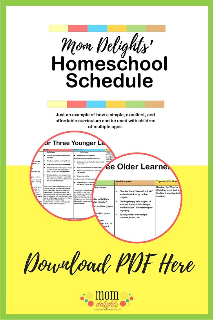Mom Delights Detailed Homeschool Schedule