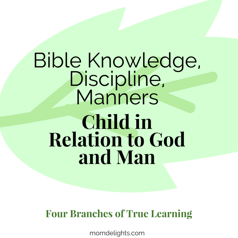 four branches of true educaiton: Child in Relation to God and Man Homeschooling