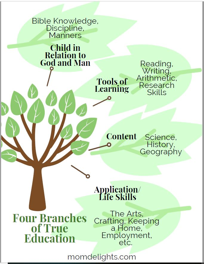 Chart showing the four parts of true education