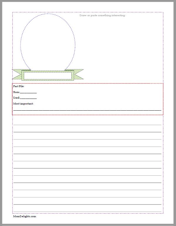colorful biography notebooking page