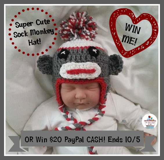 sock monkey hat button