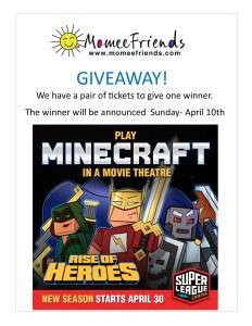 Minecraft giveaway- April