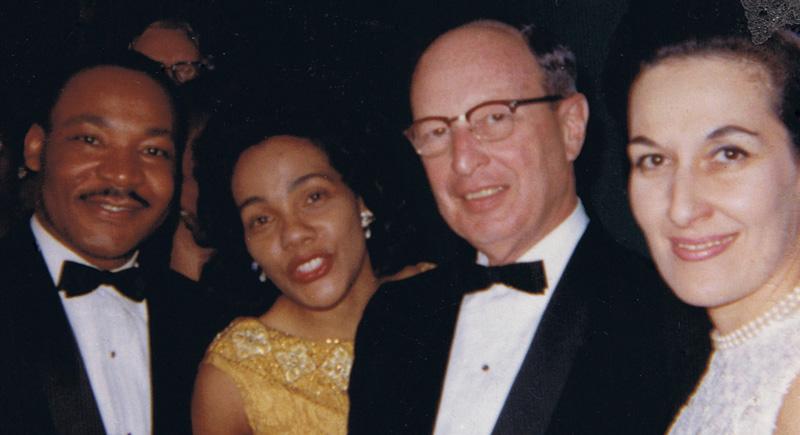 Martin Luther King Jr., Coretta Scott King, Rabbi Jacob Rothschild and his wife Janice Rothschild at Atlanta banquet honoring King