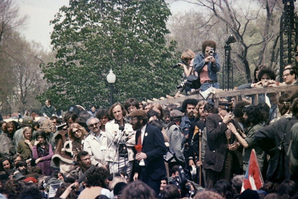 George E. Johnson, then a government attorney, addresses Vietnam Veterans Against the War demonstration near US Capitol in April 1971.