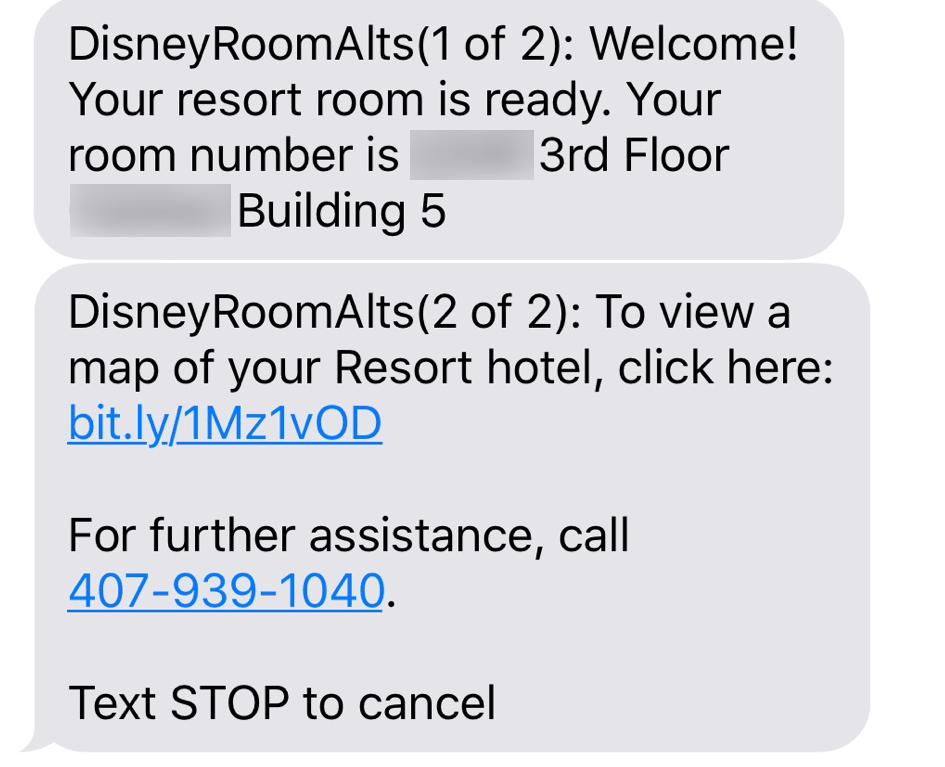 Mydisneyexpereince app room text