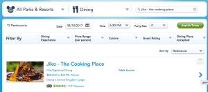 Dining Reservation Search