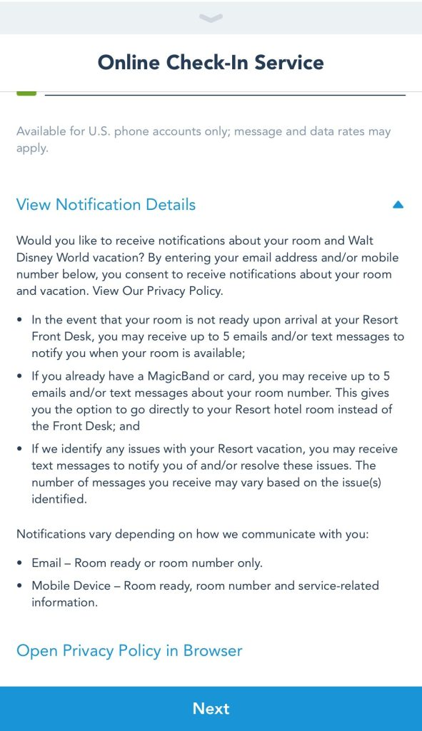 Notification Details for the Resort Check-In