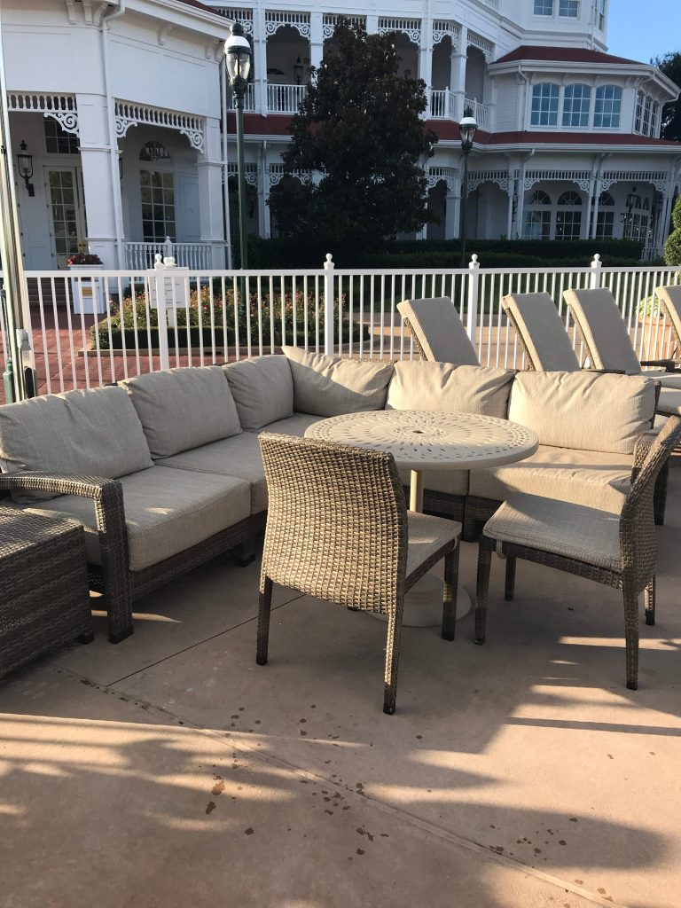Couch in pool area at Grand Floridian