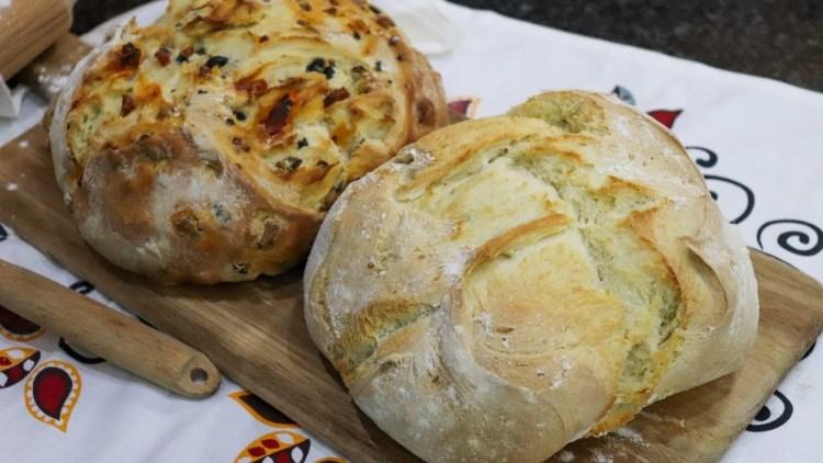 Receita de Pão Branco e Pão Recheado de Chouriço e Azeitonas