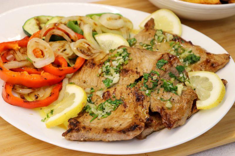 Secretos de Porco Grelhados com Legumes