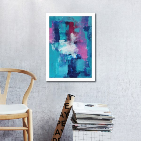 Abstract Acrylic Art On Paper - Blue Clover by Charlie Albright | Moments by Charlie | Creative Abstract Artist, Photographer and Blogger | Made in Adelaide, Australia
