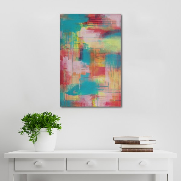 Abstract Acrylic Canvas Art - Little Yellow Wanderer - by Australian abstract artist Charlie Albright | Moments by Charlie | Creative Visual Artist, Photographer and Blogger | Made in Adelaide, Australia