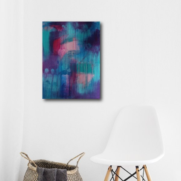 Abstract Art Titled Follow Your Heart By Creative Visual Artist Charlie Albright | SALA 2018 Collection - Chasing Dancing Colours | Moments by Charlie Online Shop | Adelaide, South Australia