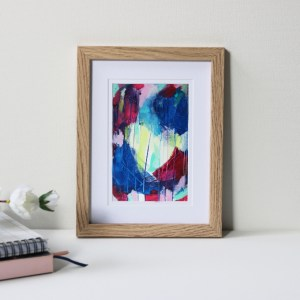 "Framed Art Print Titled Like Coloured Raindrops By Creative Visual Artist Charlie Albright | Natural Oak Frame 6"" x 8"" Mount 4"" x 6"" 