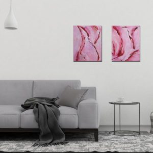 "Abstract Canvas Art (Two-Piece Set) Titled Her In Motion By Adelaide Abstract Artist Charlie Albright | Each Canvas Size 16"" x 20"" 