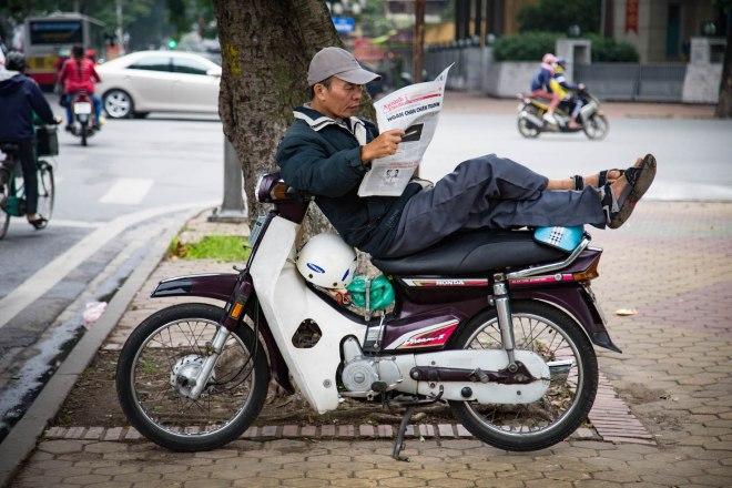 Hanoi-vietnamese on motorbike