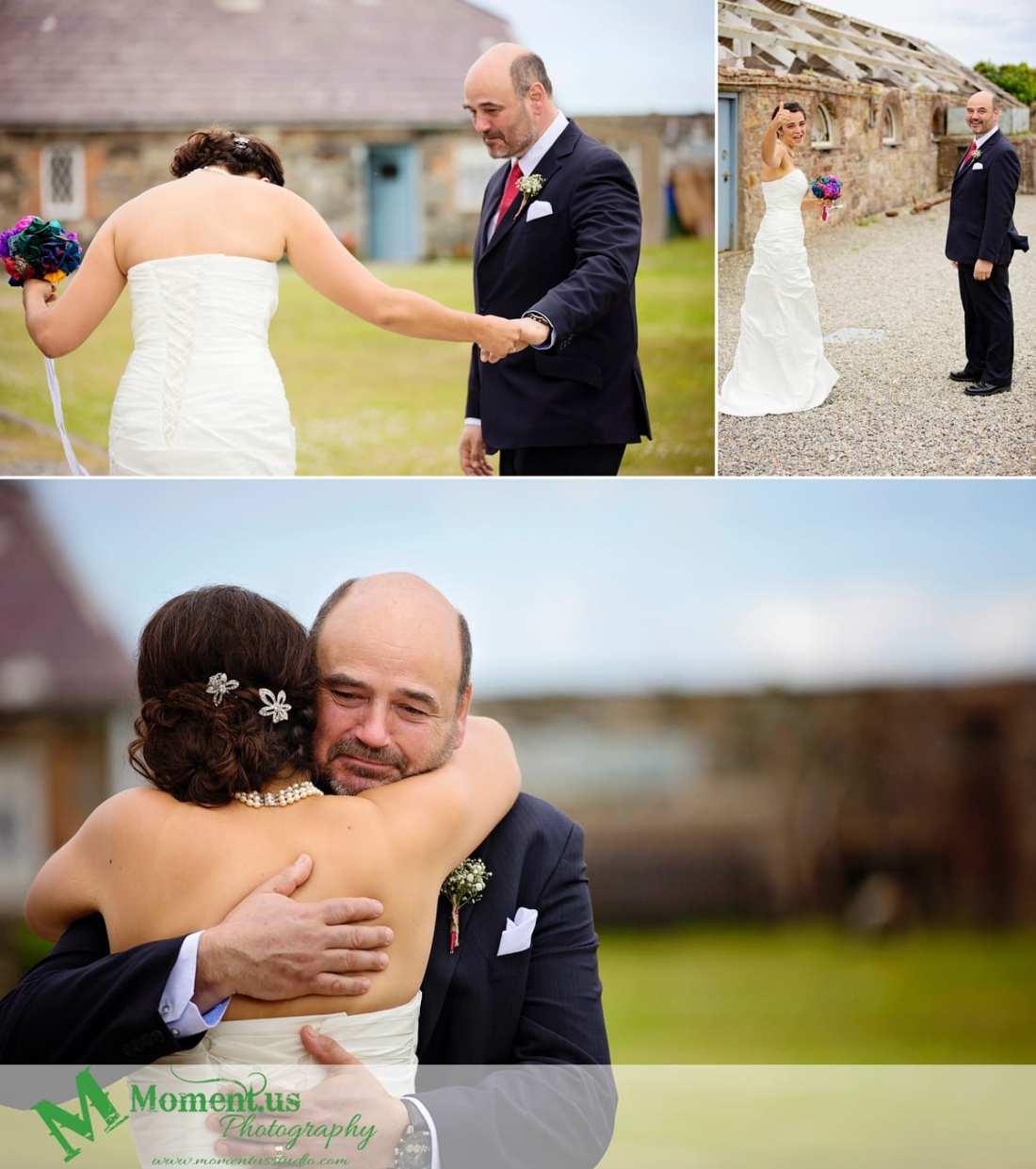 Fort Belan Wedding - bride hugging dad
