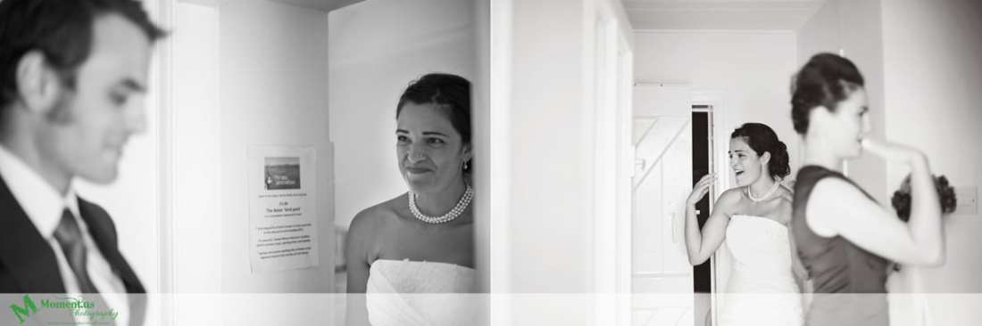 Fort Belan Wedding - bride trying not to cry