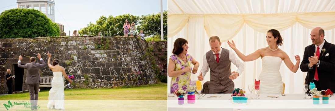 Fort Belan Wedding - bride and groom entering tent