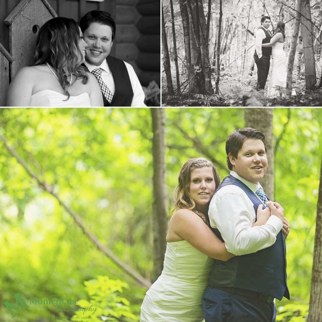 rustic country wedding photos - bride and groom in forest