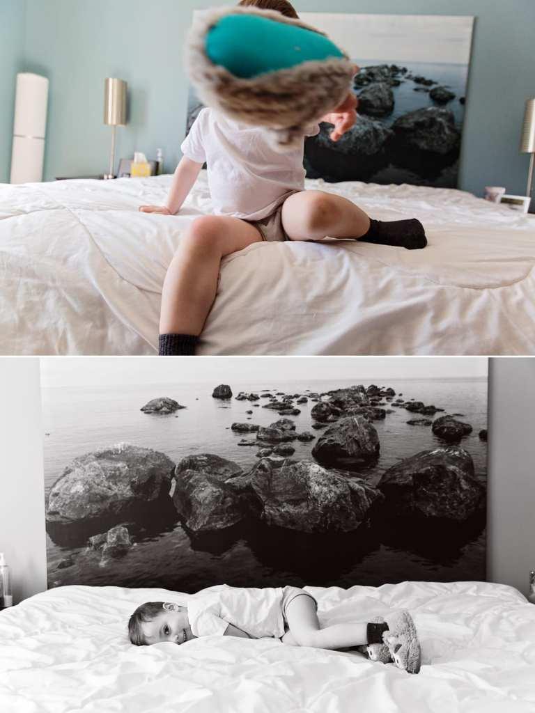 Cornwall documentary family photographer - boy throwing slipper