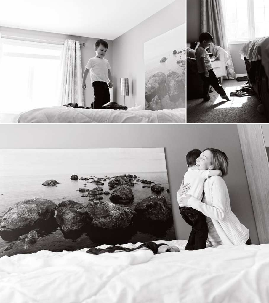 Cornwall documentary family photographer - boy touching sunlight with toe