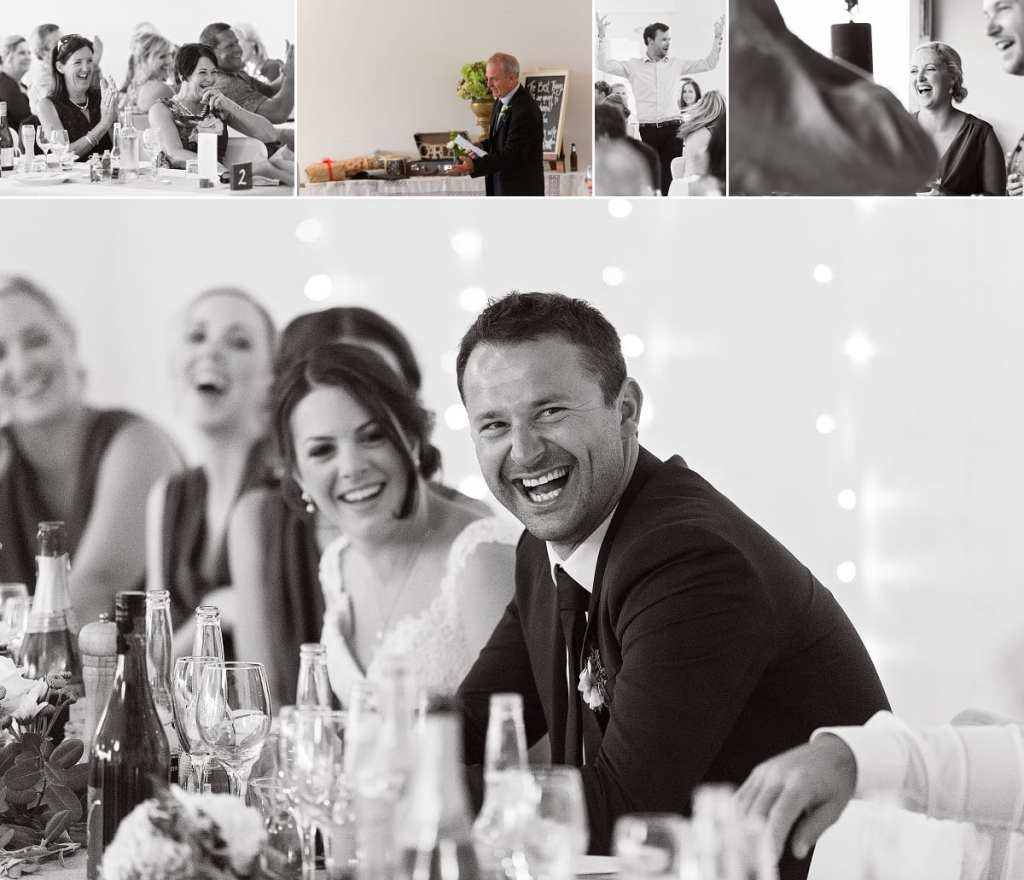 International wedding photographer in Cornwall - groom laughing during speeches