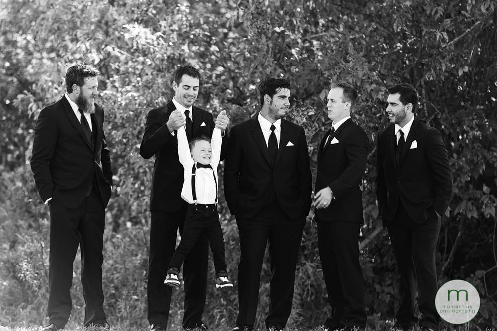 groomsmen playing