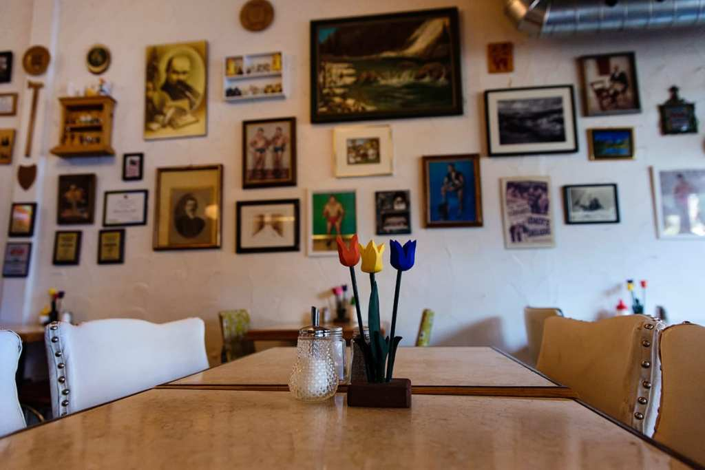 Diner table and wall art