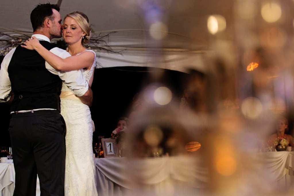 Rural backyard wedding bride and groom first dance