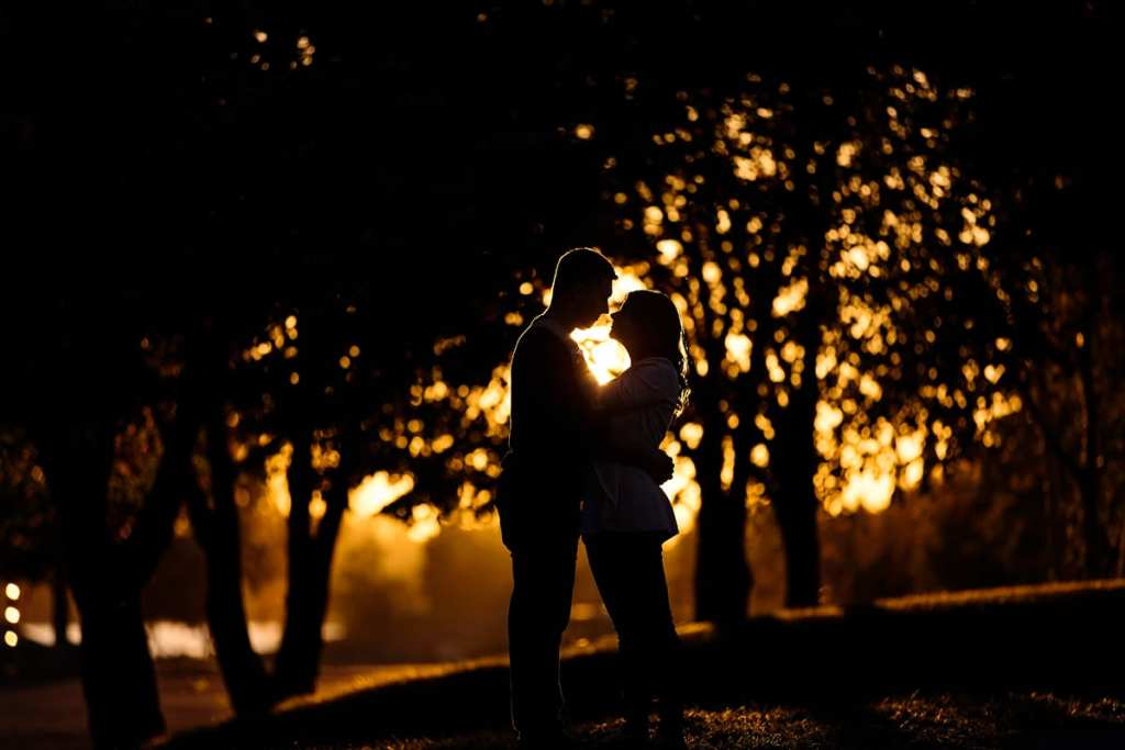 golden hour shot of engaged couple in autumnal photo session