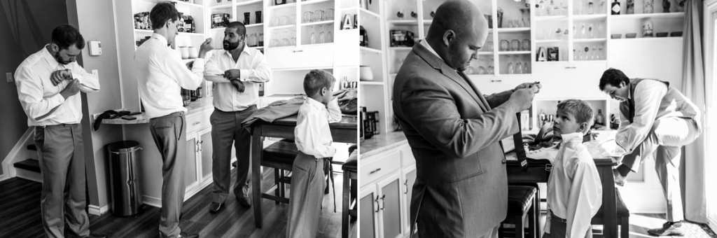 Groom gets ready in kitchen and puts on suspenders