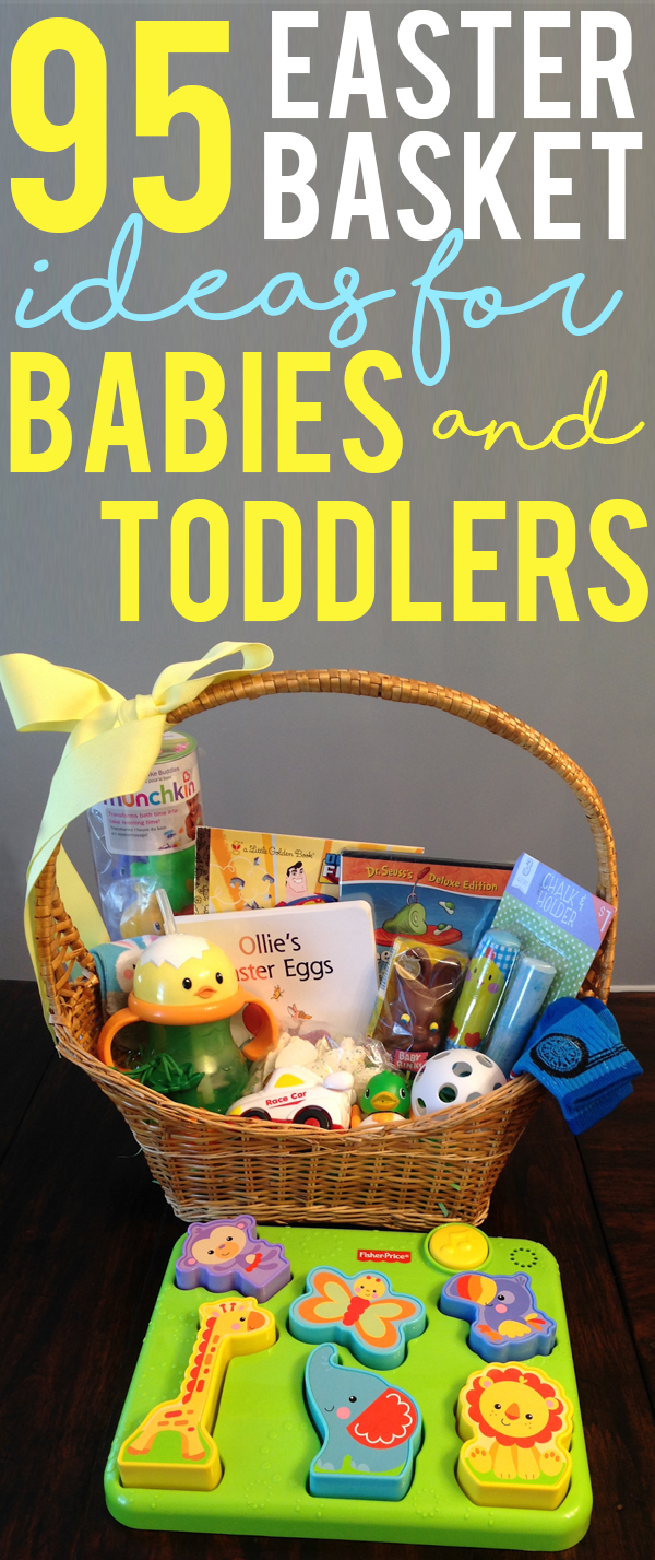 95 Easter Basket Ideas for Babies and Toddlers. Free printable list of 95 ideas for Easter Basket stuffers for little ones. Non-candy ideas for Easter Baskets. #easter #easterbasket #easterbaskets #babies
