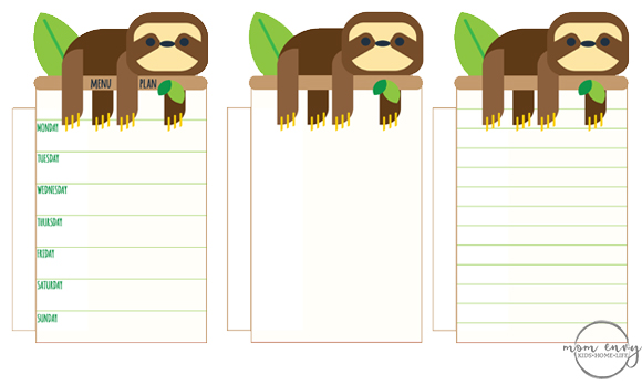 Free Sloth Planner Inserts and Clips - Printable Planner ...