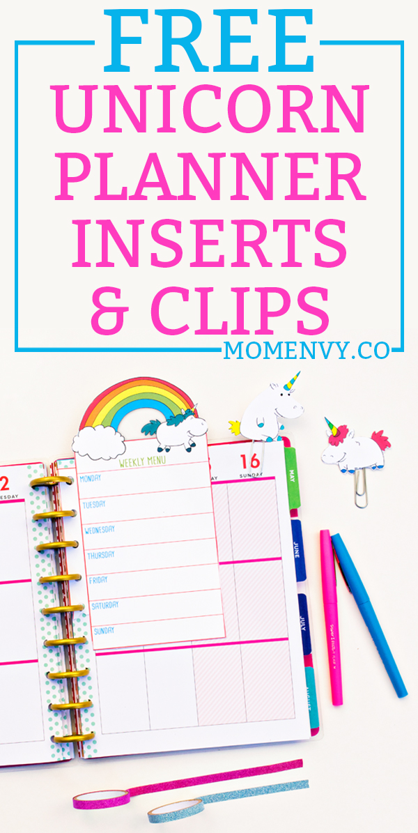 FREE Unicorn planner inserts and clips. Download a set of 5 different #unicorn planner inserts and two different unicorn planner clips. They come in three sizes to be used in any planner. #happyplanner #plannerprintables #freeplannerprintables #freeprintables