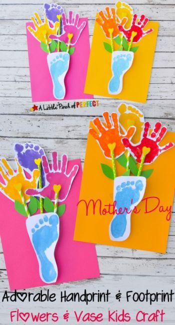 Mother's Day Crafts Round -up From Mom Envy - Mother's Day Crafts Round -up From Mom Envy - A Little Pinch of Perfect Footprint Flowers