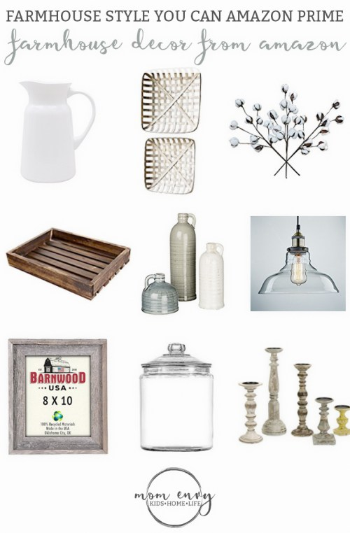 Farmhouse Decor from Amazon Mom Envy. Get some farmhouse style in less two days with Amazon prime. Farmhouse. Fixer Upper style. Chip and Joanna. Farmhouse decor. Farmhouse style. Rustic charm. Rustic decor. Farmhouse decor on a budget. Cozy farmhouse decor. Farmhouse living room decor. Farmhouse kitchen decor.