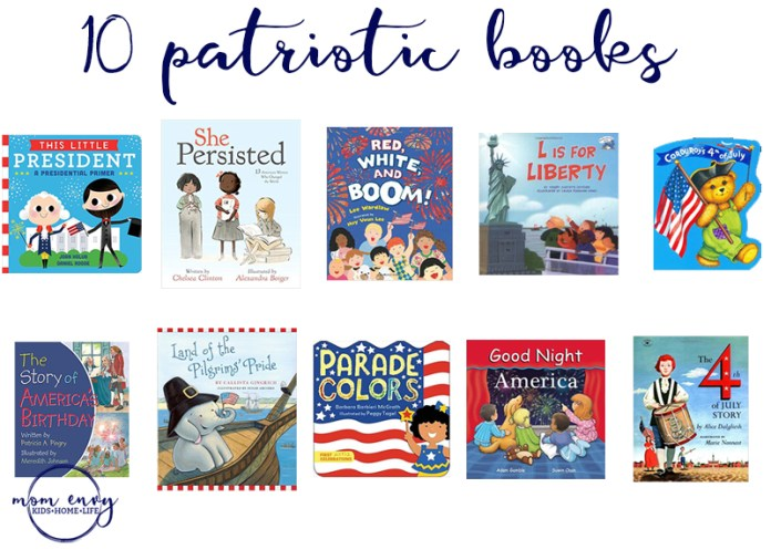 Patriotic Books for Kids Mom Envy. Books about Memorial Day. Books about Fourth of July. Books about America. Childrens books. Best Childrens Books. Best Childrens Books about America.