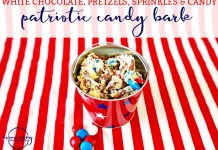 White Chocolate Pretzel Bark. Check out this patriotic dessert perfect for the Fourth of July, Memorial Day, or Labor Day. Candy bark is such a quick and easy dessert recipe. Mom Envy.