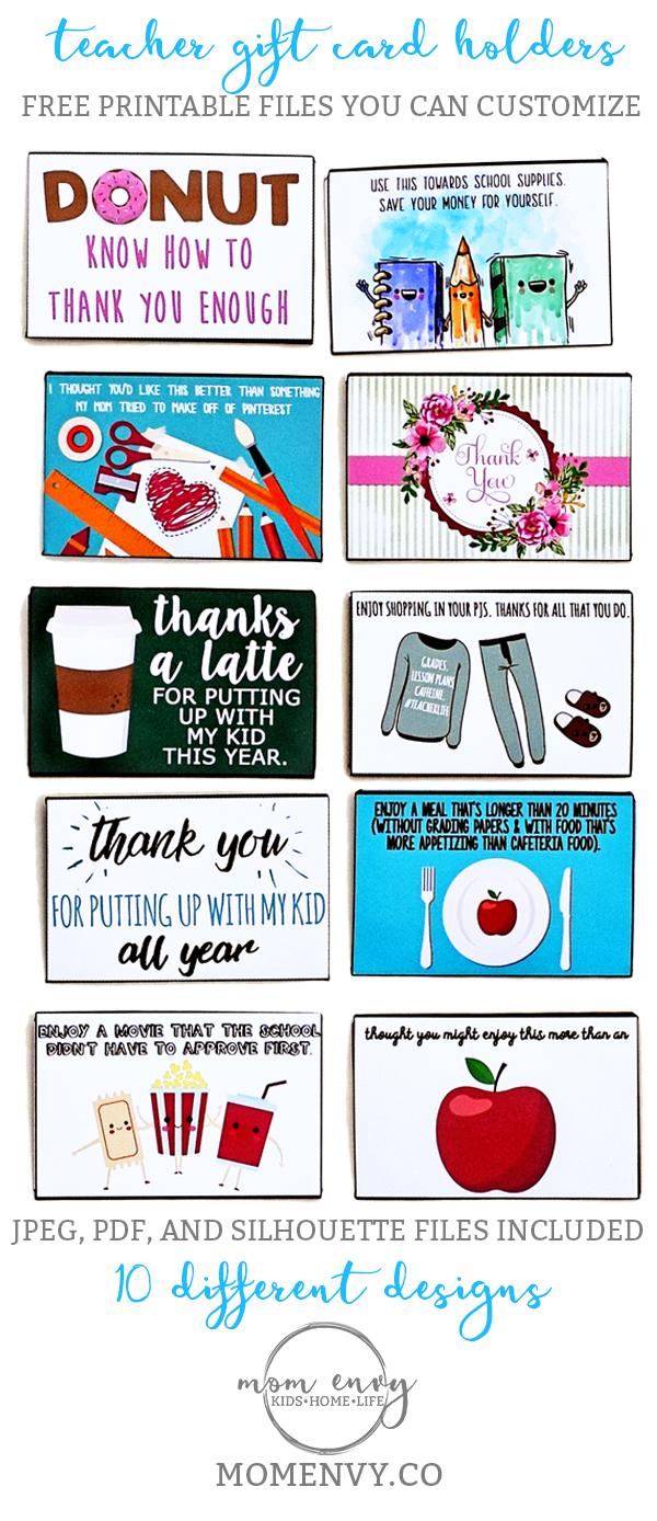 Teacher Gift Card Holders Mom Envy Pinterest