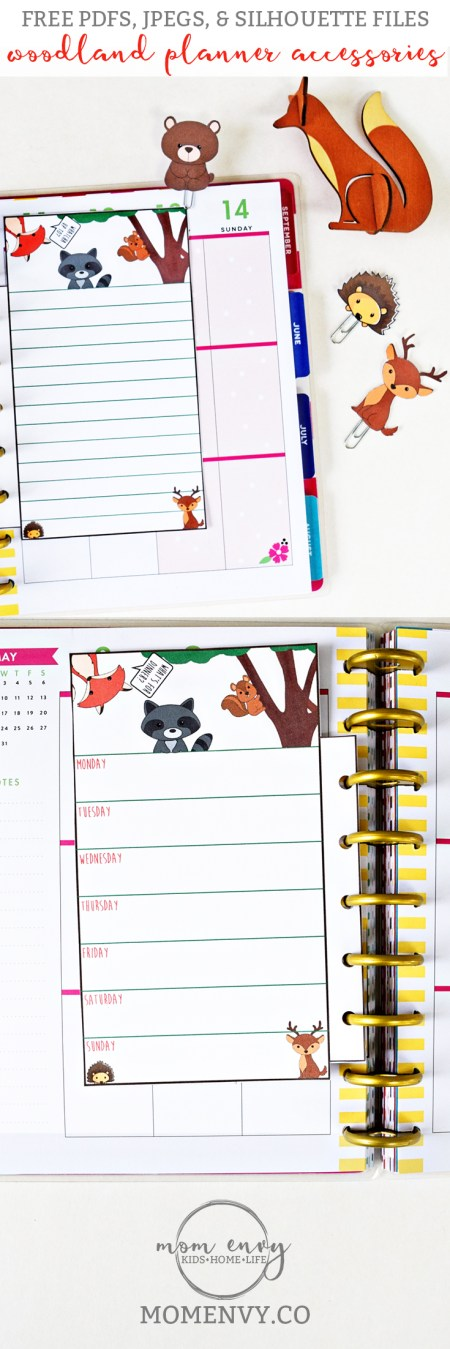 Woodland Animal Planner Inserts and Clips Mom Envy Pinterest