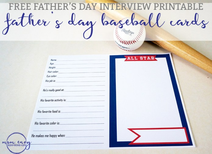 Father's Day Interview Printable - Interview Baseball Cards