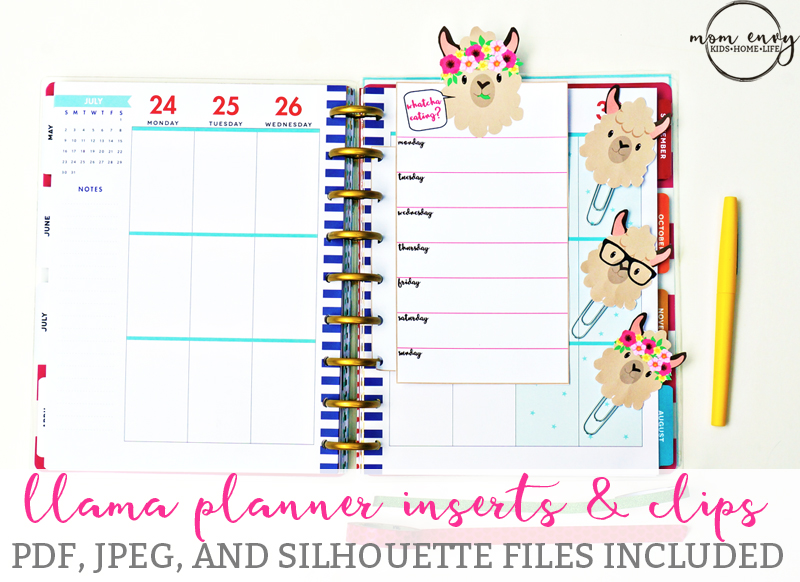 Free llama planner inserts planner clips free planner for Happy planner accessories