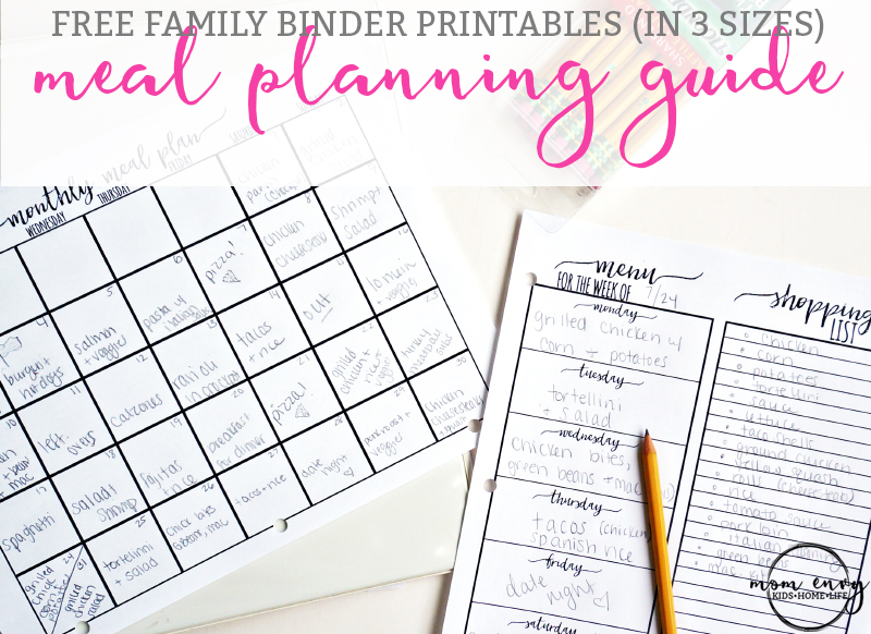 the ultimate guide to meal planning get free family binder printables free printables for