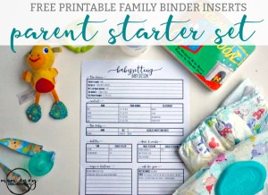 Free family binder printables. Get the parent starter set. This includes a free babysitting form, free family emergency form, a free daycare form, free baby milestone tracker, and free hospital checklist. Get organized. Free family binder. Free family printables. Free Planner printables. Free Happy Planner inserts.