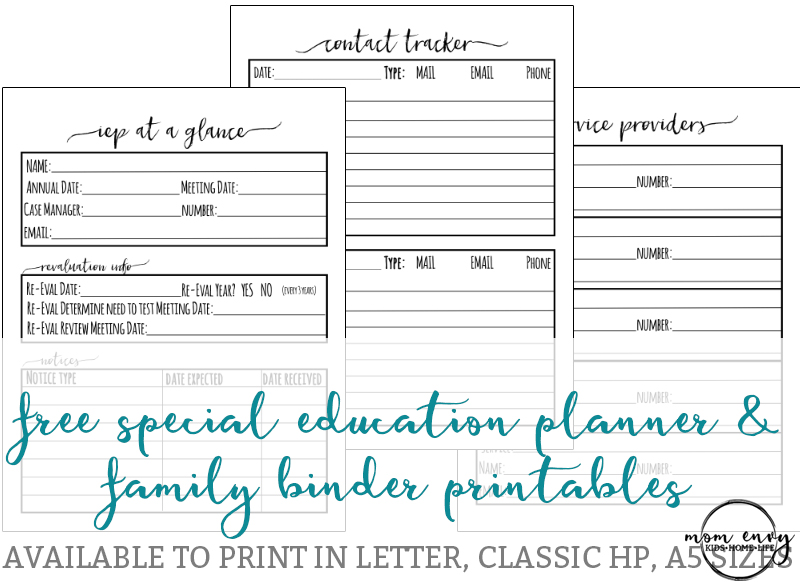 Special Education Planner Inserts and Family Binder Inserts