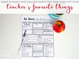 About the Teacher. Want to give your child's teacher a gift they actually want this year? Download these free printable to learn more about your child's teacher's favorite things. Perfect for the PTA, PTSA, Parent Teacher Assosciations. Give your teacher the gift they deserve.