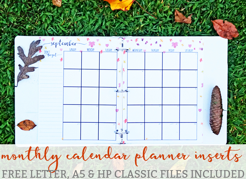 Planner Calendar Inserts : Free monthly planner inserts family binder printables