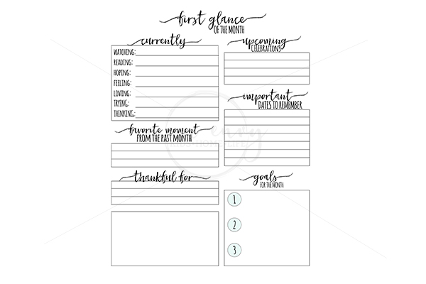 free monthly planner inserts family binder printables